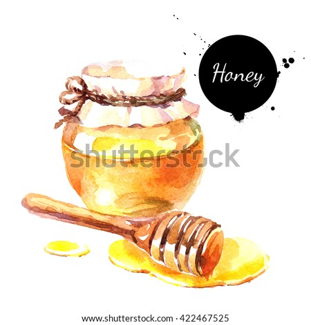 Watercolor hand drawn fresh honey. Isolated organic natural eco illustration on white background