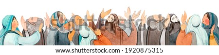 Watercolor hand drawn illustration of praying people, apostles in prayer, thanksgiving to the Lord. Decorative border for the background of Christian publications, the design of banners, cards, sites Foto d'archivio ©
