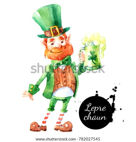 Watercolor hand drawn Leprechaun character. Isolated St Patrick day illustration on white background