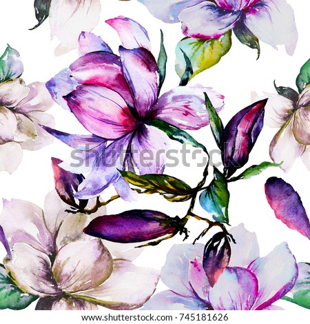 Watercolor hand-drawn magnolia flower.Beautiful blossom and buds.Green leaves.Pink,rose,violet,purple,pastel petals.Seamless design.Pattern.