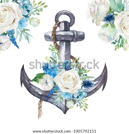 Watercolor hand drawn nautical / marine / floral illustration with anchor, rope and flower bouquet with green leaves arrangement . Sign, object, corner, frame clipart for invitations, decoration, DIY