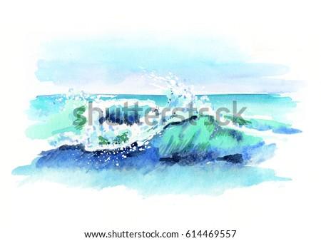 watercolor hand drawn ocean...