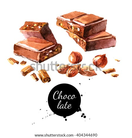 Watercolor hand drawn pieces of chocolate and nuts. Isolated sweet food vector illustration on white background