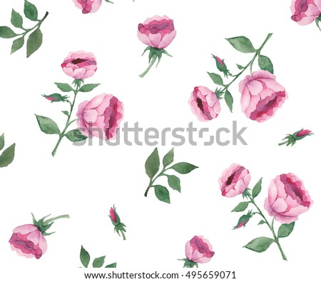 Watercolor Hand Drawn Roses Set Watercolor Hand Drawn Peonies Set