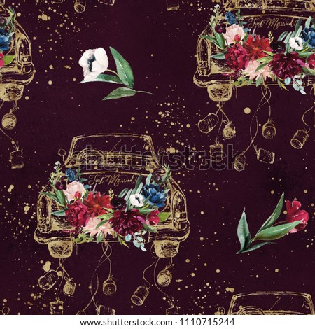 Watercolor hand drawn seamless pattern / background. Wedding romantic illustration on burgundy / maroon background with paint splashes - vintage gold cabriolet car with flower bouquet. Just Married!