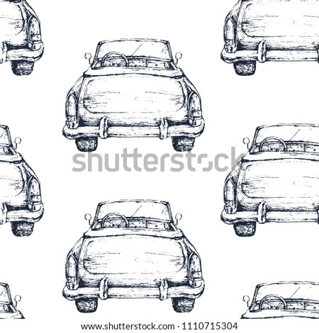 Watercolor hand drawn seamless pattern / background. Wedding romantic illustration on white background - vintage retro cabriolet car.