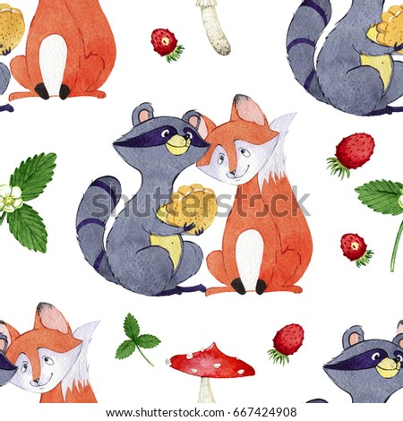 watercolor hand drawn seamless pattern of  berries and cute character. Illustration for postcards, greetings, invitations, children's books