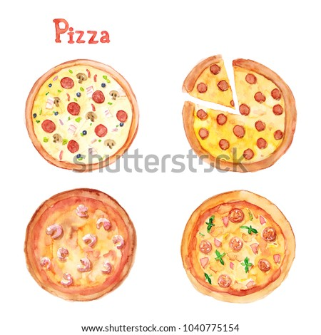 Watercolor hand drawn sketch illustration set of pizza with different fillings and lettering Pizza isolated on white