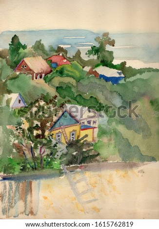 Watercolor hand drawn sketch of small town street with old wooden houses, barns, garden and view of the Desna River with meadows and forest in the background in the city of Novgorod Siverskiy, Ukraina