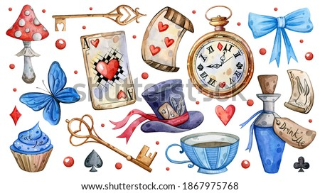 Watercolor hand painted Alice in Wonderland set. Illustration isolated on white background. Watch, hat, cards, butterfly, key, bow. Use it for postcards, invitations, and scrapbooking.