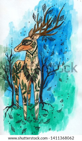 Watercolor hand painted amazing deer on blue green forest background illustration for your art and design.Is good for home decoration,post cards,book cover and illustration,poster and prints.