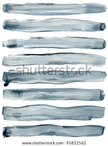 Watercolor hand painted brush strokes are Isolated on a white background.