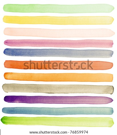 Watercolor hand painted brush strokes, banners. Isolated on white background. Made myself.