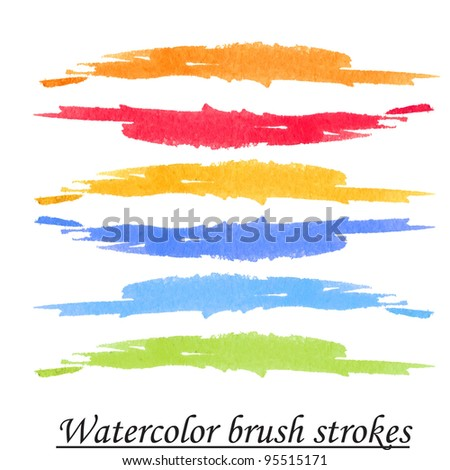 Watercolor hand painted brush strokes, isolated on white background.