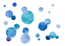 Watercolor hand painted circle shape design elements high resolution easy to use blue colors