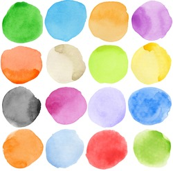 Watercolor hand painted circle shape design elements. Made myself.