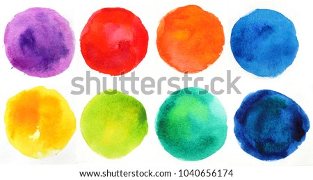 Watercolor hand painted circle shape design elements. Set of multicolored watercolor dots