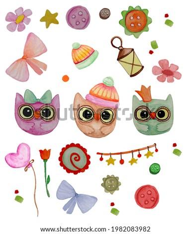 Watercolor hand painted curte owl set . illustration.watercolor owl. Imagine de stoc ©