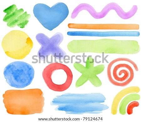 Watercolor hand painted design elements.