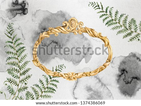 Watercolor hand painted gold, oval, antiques, vintage, baroque frame and fern leaves. Grey background splotches illustration card. Your text here. Ideal for greeting, invitation card. #1374386069