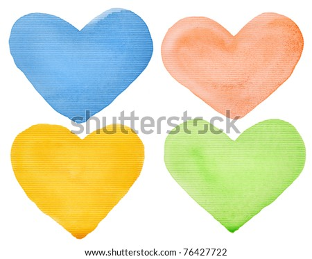 Watercolor hand painted hearts. Made myself. - stock photo