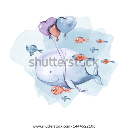 Watercolor hand painted illustration. Cute whale with ballons and fish on white background. Cartoon character
