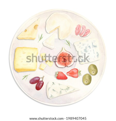 Watercolor hand painted illustration - plate with food, snack - bread, fruits, vegetables, cheese.