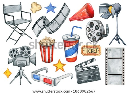Watercolor hand painted Movie Night set. Cinematography, shooting, stars, ticket, popcorn, movies. Illustration isolated on white background. Use it for postcards, invitations, and scrapbooking.