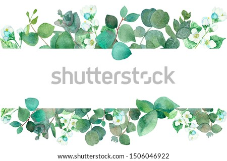 Watercolor hand painted nature flora banner frame with white blooming jasmine flowers and green eucalyptus leaves and branches for invitations and greeting card with the space for text on the white