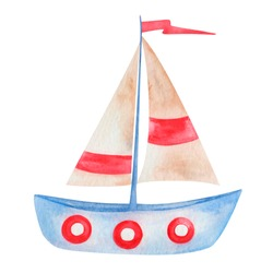 Watercolor hand painted sailing ship blue, beige and red with sails and flag isolated on white. Marine toy boat, clip art vessel for summer card making, wrapping papper, wallpaper, postcards design