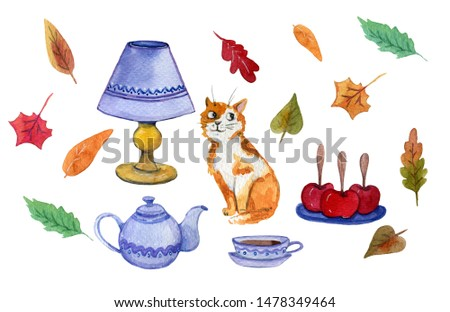 Watercolor hand painted set of a clip art of a ginger cat and a tea set and bright leaves around