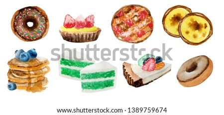 Watercolor hand painting of bakery food set consisted of donut,cheesecake,pie,egg tart,pancake with blueberry,and green tea cake,isolated on white background