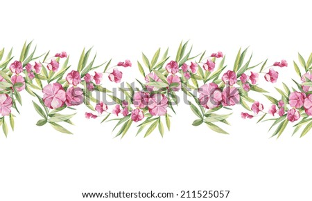 Watercolor handmade floral natural seamless pattern set with pink tropical flowers #211525057