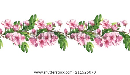 Watercolor handmade horizontal floral pattern set with pink little flowers #211525078