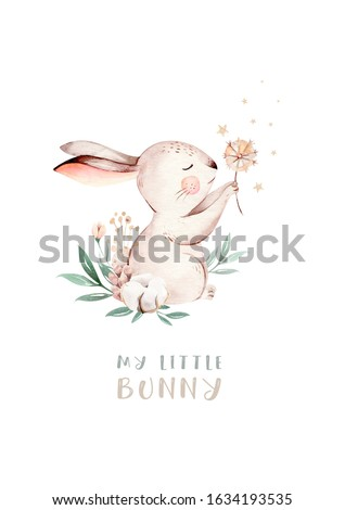 Watercolor happy easter set with baby bunnies design. Rabbit bunny kids illustration isolated on white. Hand drawn Easter cartoon forest hare animal bunny holiday funny decoration. Nursery poster