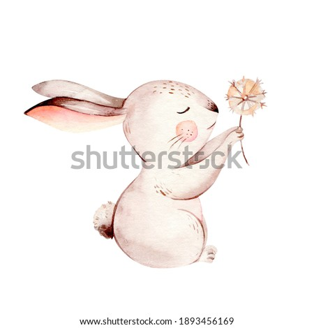 Watercolor happy easter set with baby bunnies design. Rabbit bunny kids illustration isolated on white. Hand drawn Easter cartoon forest hare animal bunny holiday Nursery poster design.
