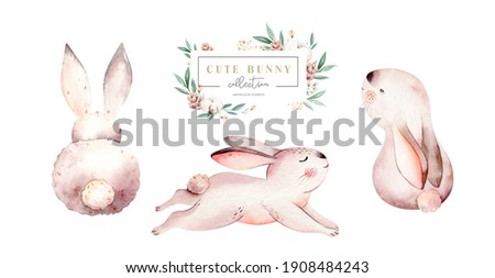 Watercolor happy easter set with baby bunnies design. Rabbit bunny kids illustration isolated on white. Hand drawn Easter cartoon forest hare animal bunny  decoration. Nursery poster design.