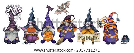 Watercolor Happy Halloween Gnome set in bright colors