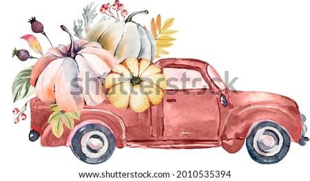 watercolor harvest truck, fall pumpkin harvest clipart. Thanksgiving pumpkin illustration, Harvest festival invitation, farmhouse clipart