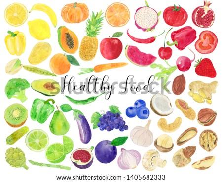 Watercolor Healthy Food Illustration, Healthy Food Clipart, Vegetables Illustration, Vegetables Clipart, Fruits Illustration, Fruits Clipart, Nuts Illustration, Nuts Clipart