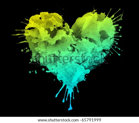 Watercolor Heart Isolated on Black Background