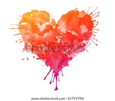 Watercolor Heart Isolated on White Background