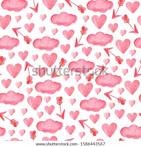 Watercolor hearts and arrows of Cupid and gentle clouds. Farby seamless light red print on a white background. Valentine's day and wedding decor. For romantic projects: printing, wallpaper, textiles. Zdjęcia stock ©