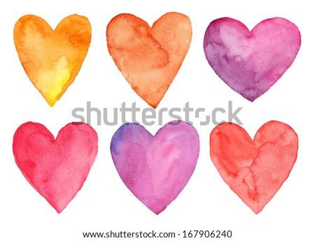 Watercolor hearts, Valentine's day