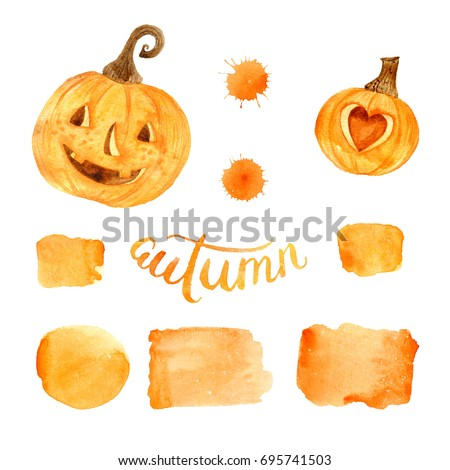 Watercolor helloween. Perfect for thanksgiving cards or posters, halloween design, recipe or menu. Holiday