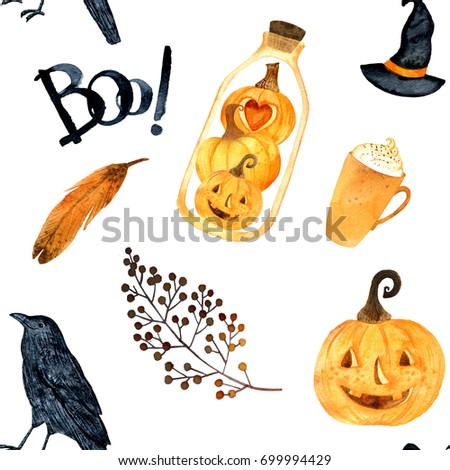 Watercolor helloween.  Perfect for thanksgiving cards or posters, halloween design, recipe or menu. Holiday. Pumpkin, crows, terrarium, bird. Seamless pattern.
