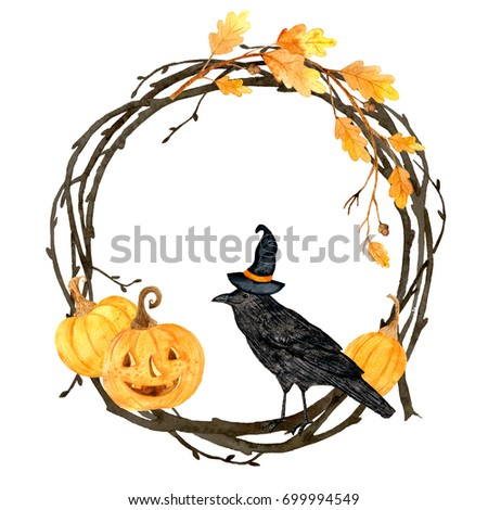 Watercolor helloween.  Perfect for thanksgiving cards or posters, halloween design, recipe or menu. Holiday. Wreath and raven.