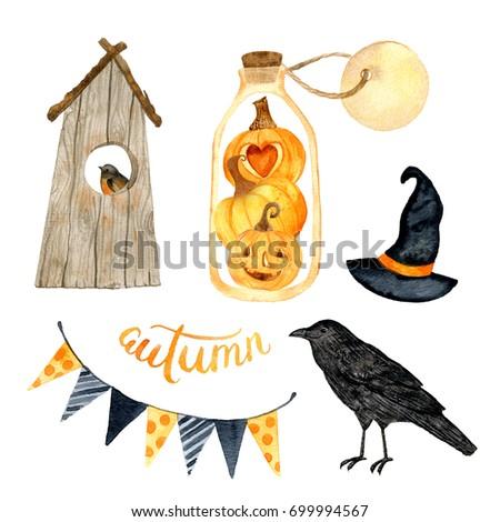 Watercolor helloween.  Perfect for thanksgiving cards or posters, halloween design, recipe or menu. Holiday. Pumpkin, crows, terrarium, birdhouse, bird..