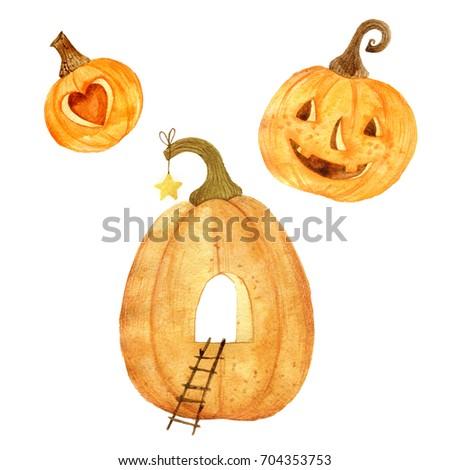 Watercolor helloween. Pumpkins. Autumn elements.