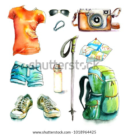 watercolor hiking walking travel set / gumshoe, film camera, sunglasses, t-shirt, watercolor jeans shorts, walking stick, carbine, water bottle, map, camping backpack /Watercolor and ink illustration